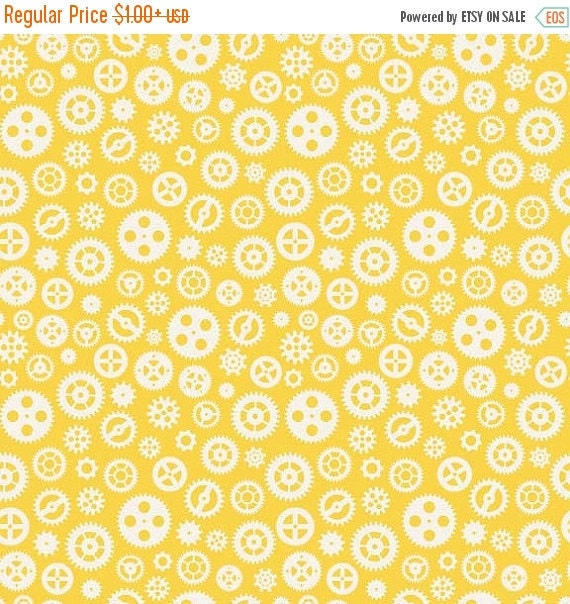 Fun & Games Pattern C3385 Color: Yellow by Lori Whitlock for Riley Blake Quilt Apparel Craft Fabric 100% Cotton Fabric Gears Geek Steampunk