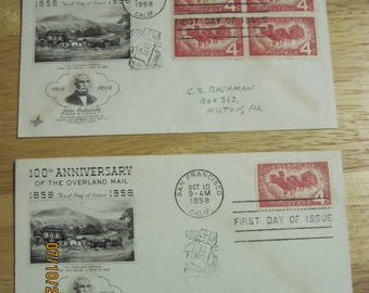 Vintage Set of 2 100th Anniversary The Overland Mail 1858-1958 Envelopes with Stamps...Postmark 1959...EXCELLENT CONDITION For Age
