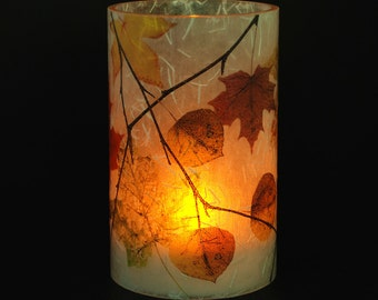 Fall Leaves candle holder.  1 small  e-Kandle Kuff(TM) with 1 free Electric Tea Light.  Fall wedding decor.  Outdoor candle lighting.  LED.