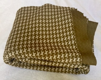 Vintage Olive Green Houndstooth Polyester Fabric