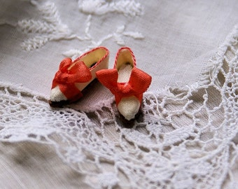 Miniature shoes - romantic flats -white silk with coral bow
