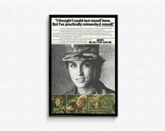 Woman Soldier Pic Be All That You Can Be Slogan Army Soldier Poster Strong Woman G.I. Bill Ad 80s Military Propaganda Ads Military Family