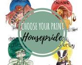 Print Hogwarts Housepride - Fandom art print - Harry Potter Painting- Fandom art - Disney Painting - Book lovers - Gifts for Booknerds