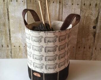 Yarn Mini Storage Bin, Carryall, Sheep Print