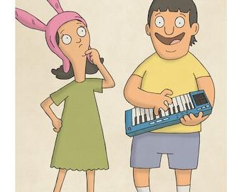 Louise and Gene - Bob's Burgers - Illustration Print