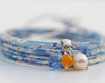 Blue Ditsy Liberty of London & Swarovski Wrap Bracelet Mother's Day Birthday Gift