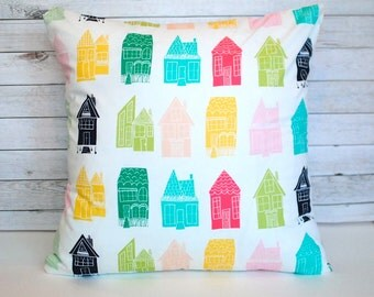 Colorful throw pillow. 20x20 cushion cover. Pink green and blue pillow. Couch cushion. Toss pillow. Bed pillow. Cottage chic decor.