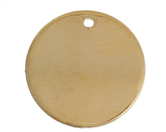 "10 GOLD Plated Metal Stamping Blank Charm Pendant, round circle disc, 10mm wide (3/8""), 17 gauge, msb0364"