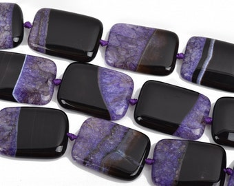 40x30mm PURPLE and BLACK AGATE Rectangle Gemstone Beads, Geode Gemstone Beads, 9 beads, gag0297