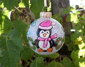 Hand Painted Penguin Ornament No285