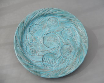 Handmade Seder Plate - Turquoise Ceramic -  Carved Pottery _ passover - Pesach