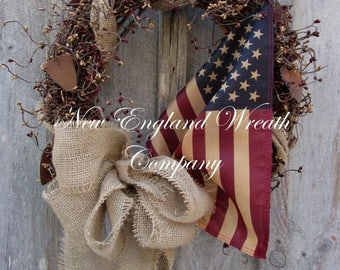 ON SALE Patriotic Wreath, Americana Wreath, Fourth of July Wreath, Memorial Day Wreath, Primitive Patriotic, Tea Stained Flag, Military Wrea