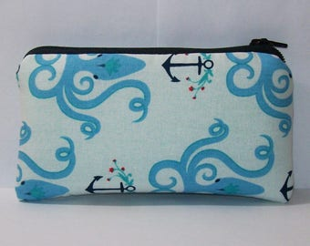 "Padded Pipe Pouch, Octopus Anchor Bag, Glass Pipe Case, Pipe Bag, Pipe Cozy, Nautical Bag, Cute Zipper Bag, 420, Stoner Gifts - 5.5"" SMALL"