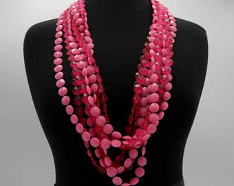 Vintage Neon Pink Four Strand Plastic Bead Necklace Retro