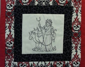 Mini Quilt Wall Hanging or Candlemat - Hades, God of the Dead and King of the Underworld !