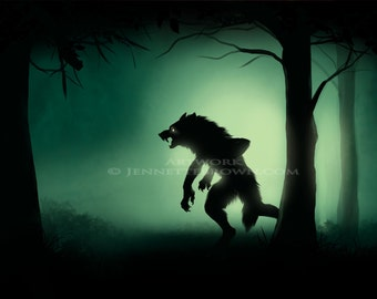 Werewolf Stalking Digital Painting Fantasy Horror Prints and Posters