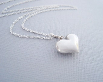 Puff Heart Necklace, Puffy Heart Charm, Puff Heart, Heart Necklace, Silver Heart Necklace