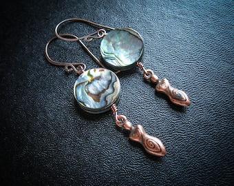 Cosmic Goddess Earrings. Sacred Feminine Abalone Earrings in Copper or Silver
