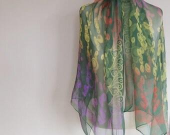 SILK CHIFFON shawl, art deco silk shawl, large chiffon scarf, deep green chiffon, boho accessory, vintage scarves, 40s wrap, 50s fashion