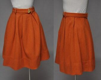 Pumpkin skirt | vintage 50s orange mohair skirt | high waist, matching belt, xxs