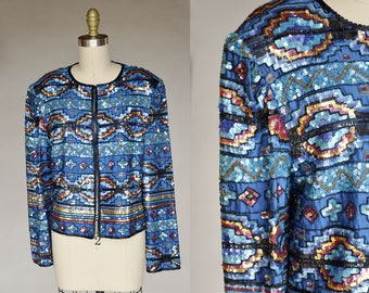 Vintage 80s Turquoise Blue Heavily Beaded Sequined Southwest Pattern Blazer