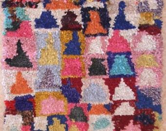 "210X160 CM (6' 10"" X 5' 2"" )  T31417 boucherouite , boucharouette,  moroccan rugs , berber rugs, morocco carpets"