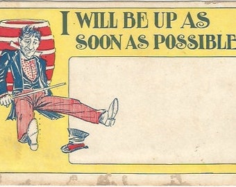 Man sitting on ground with Cane Top Hat fell off I Will Be Up As Soon As Possible Yellow Red Blue colored Comic Vintage Postcard