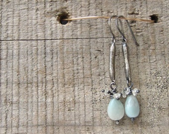 Sterling, amazonite and crystal earring