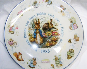 "34th BIRTHDAY GIFT, Vintage 1983 Beatrix Potter collectible plate, Peter Rabbit and Benjamin Bunny, 8"" Wedgewood plate"