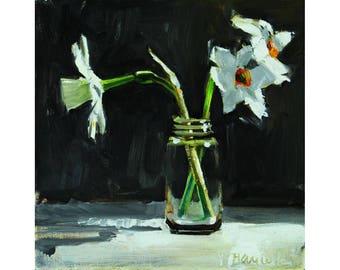 Three Little Daffodils on Black