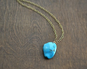 Natural Sleeping Beauty Turquoise Necklace, Brass Necklace, One Of A Kind Necklace, Long Necklace