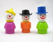 Vintage Fisher Price Little People Circus Clowns - Lot of 3 Plastic Circus Clowns, Purple, Orange, Green Bodies, Cowboy Hat, Top Hat