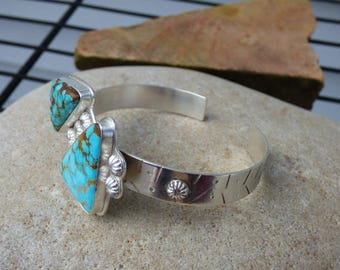 SALE - Number 8 Turquoise Multi Stone Cuff Bracelet