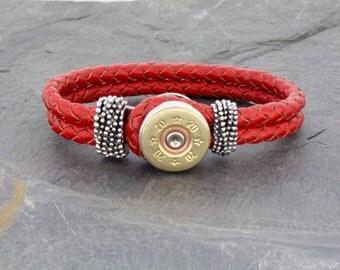 Choice 20 Gauge Shotgun Bracelet-Remington 20 Gauge Red Leather Bracelet-Winchester 20 Gauge Leather Wrap-Rio 20 Gauge-20 Gauge Leather Wrap