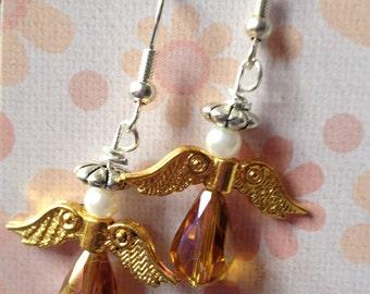 Golden winged angel earrings, holiday earrings