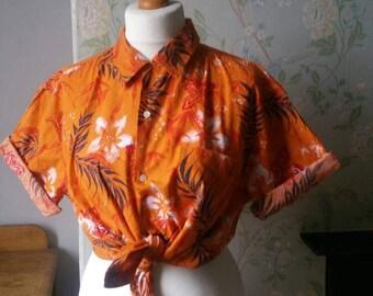 Unisex vintage Hawaiian shirt large burnt orange  tropical shirts collar short sleeves palm trees foliage Dolly Topsy Etsy UK