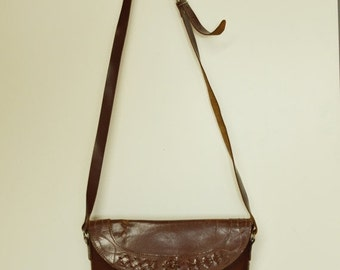 SALE Brown Leather Boho Shoulder Bag Made in India VTG 80's
