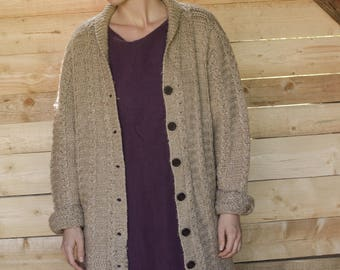 Brown wool  Sweater oversized cardigan  Vintage 80's Cardigan