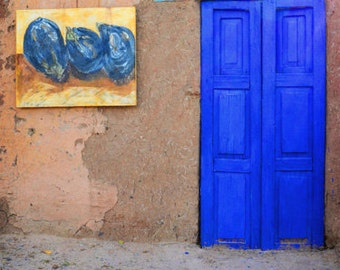 Southwestern Door Photography Print Fine Art New Mexico Rustic Blue Adobe Southwest Landscape Photography Print.