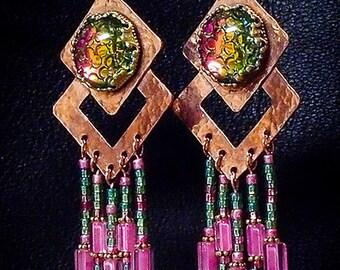 Chandelier Boho Earrings Snakeskin - Garden Party - Handmade Rustic Chic Copper