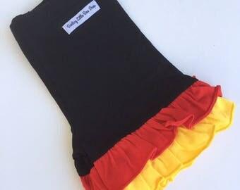 Red, black and yellow Ruffle Shorties, Ruffle Shorts - Classic Minnies - knit ruffle shorties sizes 6m to girls 10 - Free Shipping