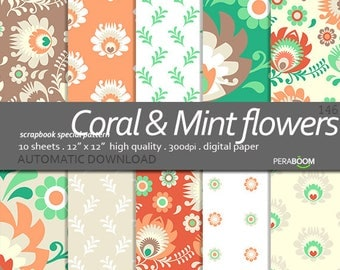 Flower backgrounds Coral flowers Folk flowers, Mint and pink, patterns, flower, floral digital paper, flower pattern, Commercial use, Summer
