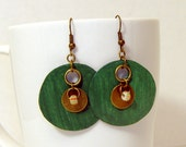 Dark Green Paper Earring with Brass and Glass Bead