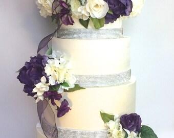 Wedding Money Box Round Four Tier Purple Cream Wedding Card Box Secured Lock Wedding Card Box Diamonds Off White Wedding Card