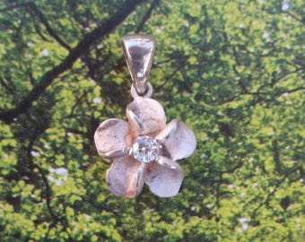 Sweet Hawaiian Flower Charm in Solid Sterling Silver with Crystal Center