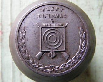 Vintage Jewelry Hob / US Navy Fleet Rifleman Awards Badge Medallion / Hub Hob Die Stamping Tool