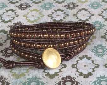 Brown Leather Wrap Bracelet Triple Wrap Bracelet Boho Chic Free Shipping Copper Gold