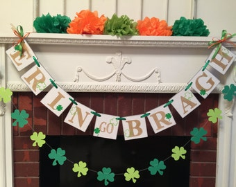 Luck of the Irish Banner / St Patrick's Day Decor / Erin go Bragh Banner / St Patrick's Day Banner / Holiday Garland /Photo Prop