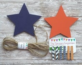 Star Child's Art Display Hanger in navy and orange,  Kids Artwork Display, Card Display, Art Display Line, Photo Display
