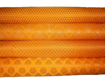 Bundle/Stack of Yellow Indian brocade/set of four fat quarters/perfect for crafting/sewing